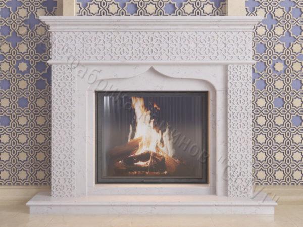 Мраморный каминный портал (облицовка) в восточном (арабском) стиле Ваиль, каталог (интернет-магазин) каминов из мрамора, изображение, фото 7