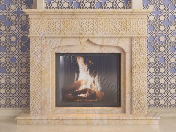 Мраморный каминный портал (облицовка) в восточном (арабском) стиле Ваиль, каталог (интернет-магазин) каминов из мрамора, изображение, фото 8