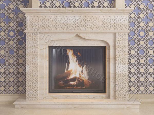 Мраморный каминный портал (облицовка) в восточном (арабском) стиле Ваиль, каталог (интернет-магазин) каминов из мрамора, изображение, фото 9