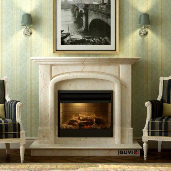Мраморный каминный портал (облицовка) Венеция, каталог (интернет-магазин) каминов из мрамора, изображение, фото 1