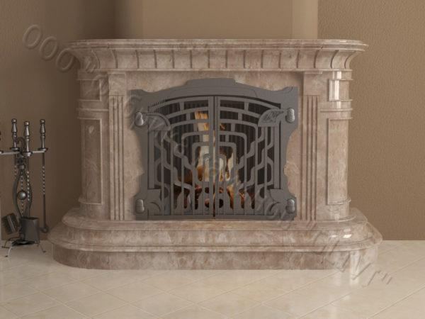 Мраморный камин с открытой топкой Вильгельм, каталог (интернет-магазин) каминов из мрамора, изображение, фото 2