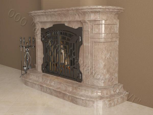Мраморный камин с открытой топкой Вильгельм, каталог (интернет-магазин) каминов из мрамора, изображение, фото 3