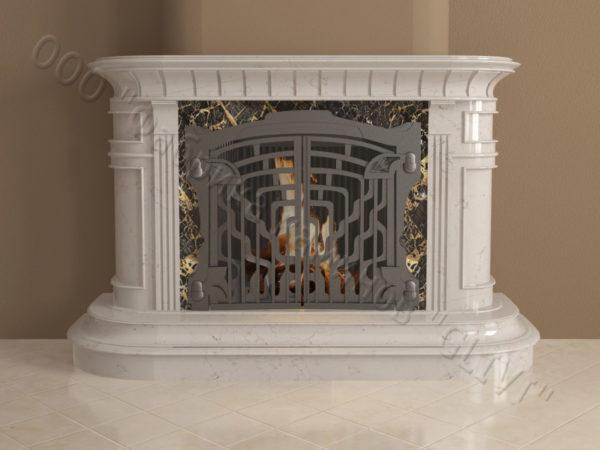 Мраморный камин с открытой топкой Вильгельм, каталог (интернет-магазин) каминов из мрамора, изображение, фото 6