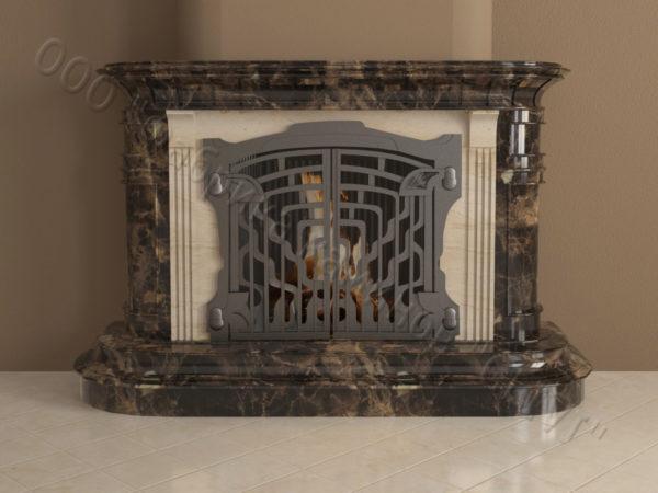 Мраморный камин с открытой топкой Вильгельм, каталог (интернет-магазин) каминов из мрамора, изображение, фото 7