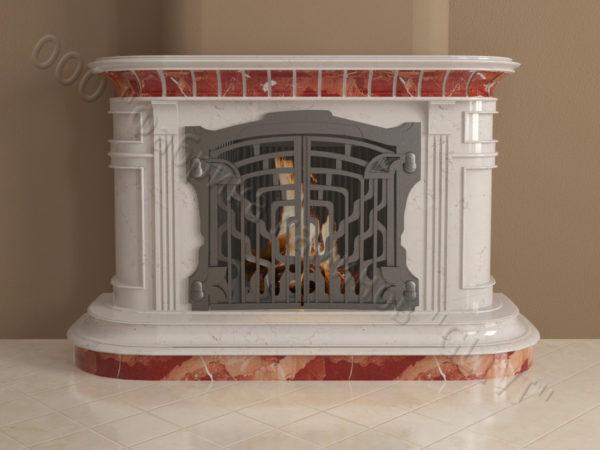 Мраморный камин с открытой топкой Вильгельм, каталог (интернет-магазин) каминов из мрамора, изображение, фото 9