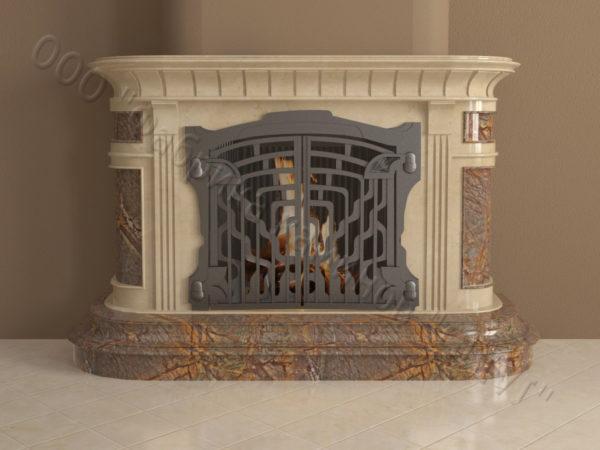 Мраморный камин с открытой топкой Вильгельм, каталог (интернет-магазин) каминов из мрамора, изображение, фото 10