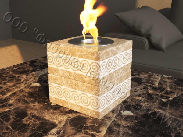 Мраморная облицовка (каминный портал) для камина на биотопливе Вирена, каталог (интернет-магазин) каминов из мрамора, изображение, фото 2