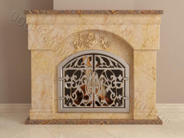 Мраморный камин с открытой топкой Вирго, каталог (интернет-магазин) каминов из мрамора, изображение, фото 8