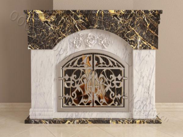 Мраморный камин с открытой топкой Вирго, каталог (интернет-магазин) каминов из мрамора, изображение, фото 9