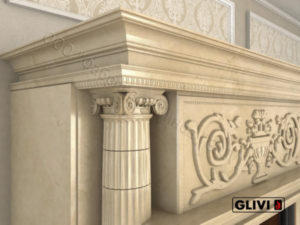 Мраморный каминный портал (облицовка) Афины, каталог (интернет-магазин) каминов из мрамора, изображение, фото 2