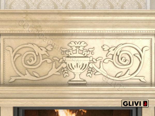 Мраморный каминный портал (облицовка) Афины, каталог (интернет-магазин) каминов из мрамора, изображение, фото 3