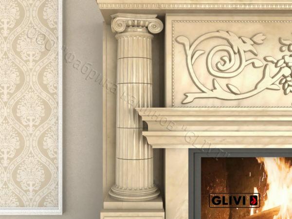 Мраморный каминный портал (облицовка) Афины, каталог (интернет-магазин) каминов из мрамора, изображение, фото 5