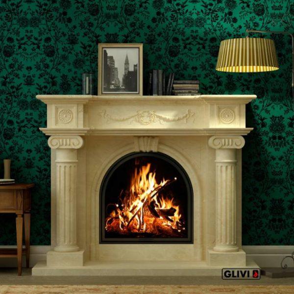 Мраморный каминный портал (облицовка) Аликанте, каталог (интернет-магазин) каминов из мрамора, изображение, фото 1