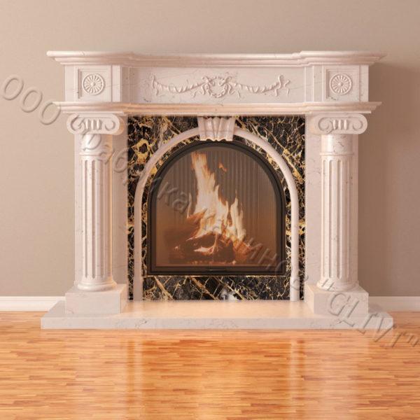 Мраморный каминный портал (облицовка) Аликанте, каталог (интернет-магазин) каминов из мрамора, изображение, фото 2