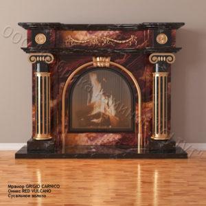 Мраморный каминный портал (облицовка) Аликанте ред вулкан, каталог (интернет-магазин) каминов из мрамора, изображение, фото 1