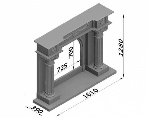 Мраморный каминный портал (облицовка) Аликанте, каталог (интернет-магазин) каминов из мрамора, изображение, фото 7