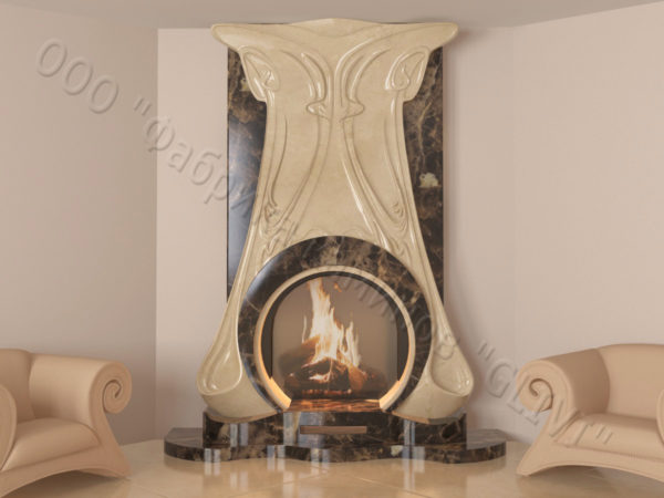 Мраморный каминный портал (облицовка) Алтум, каталог (интернет-магазин) каминов из мрамора, изображение, фото 1