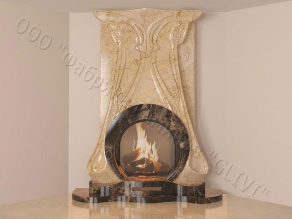 Мраморный каминный портал (облицовка) Алтум, каталог (интернет-магазин) каминов из мрамора, изображение, фото 12