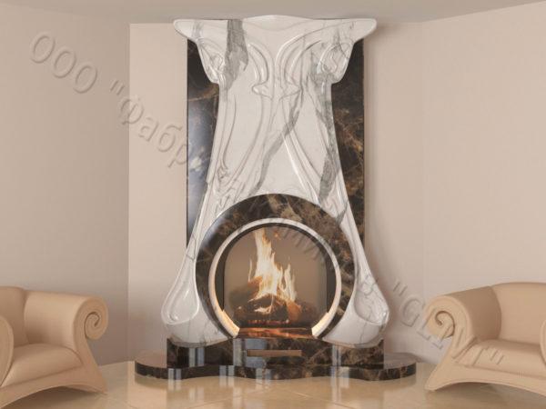 Мраморный каминный портал (облицовка) Алтум, каталог (интернет-магазин) каминов из мрамора, изображение, фото 5