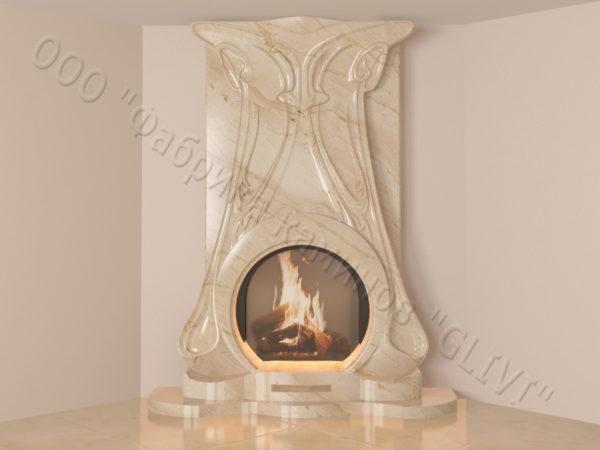 Мраморный каминный портал (облицовка) Алтум, каталог (интернет-магазин) каминов из мрамора, изображение, фото 8