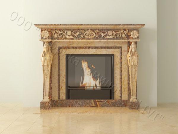 Мраморный каминный портал (облицовка) Анетис, каталог (интернет-магазин) каминов из мрамора, изображение, фото 12
