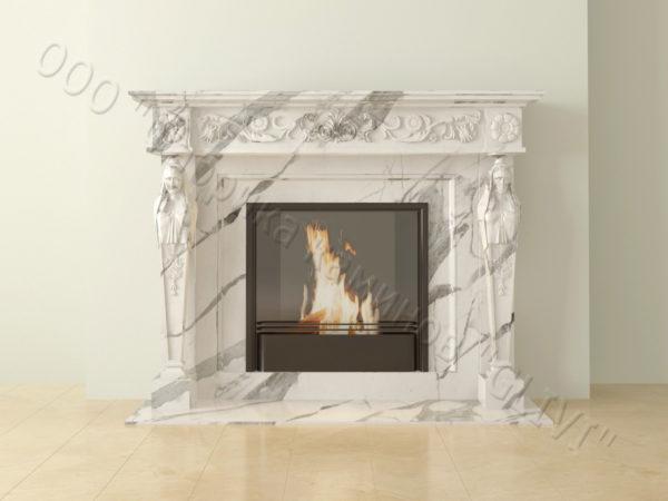 Мраморный каминный портал (облицовка) Анетис, каталог (интернет-магазин) каминов из мрамора, изображение, фото 15