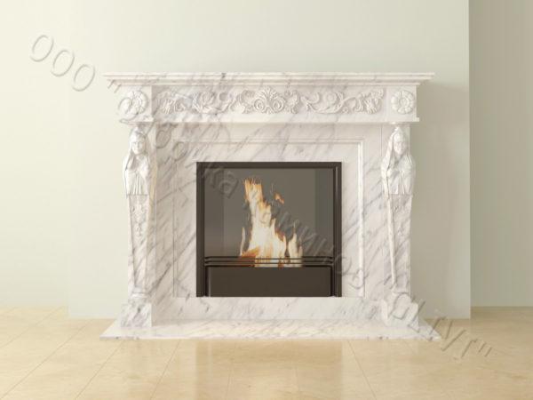 Мраморный каминный портал (облицовка) Анетис, каталог (интернет-магазин) каминов из мрамора, изображение, фото 5