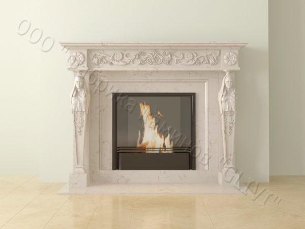 Мраморный каминный портал (облицовка) Анетис, каталог (интернет-магазин) каминов из мрамора, изображение, фото 6