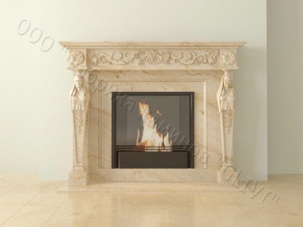 Мраморный каминный портал (облицовка) Анетис, каталог (интернет-магазин) каминов из мрамора, изображение, фото 8