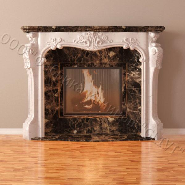 Мраморный каминный портал (облицовка) Авиньон, каталог (интернет-магазин) каминов из мрамора, изображение, фото 3