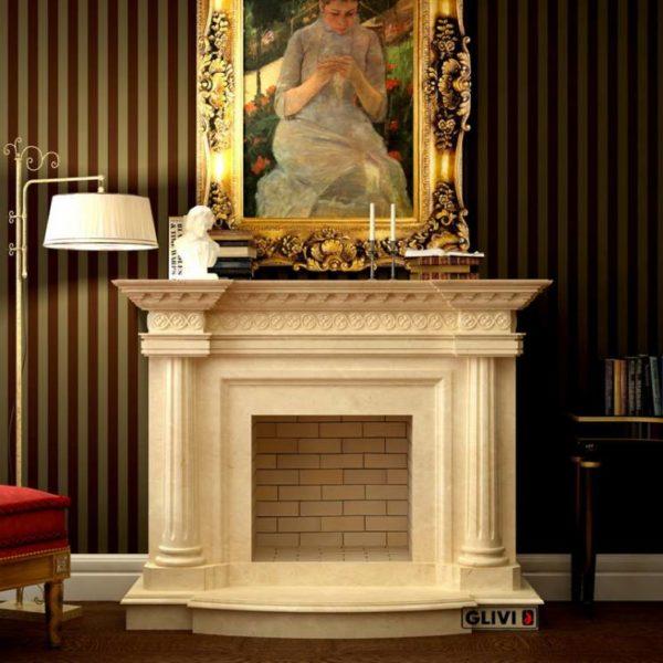 Мраморный каминный портал (облицовка) Беллини, каталог (интернет-магазин) каминов из мрамора, изображение, фото 1