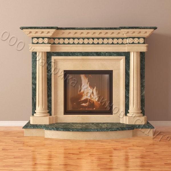 Мраморный каминный портал (облицовка) Беллини, каталог (интернет-магазин) каминов из мрамора, изображение, фото 3