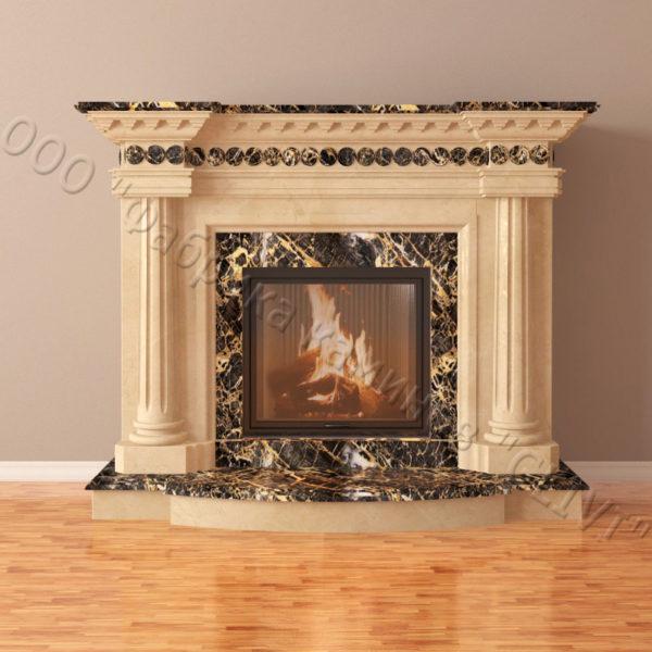 Мраморный каминный портал (облицовка) Беллини, каталог (интернет-магазин) каминов из мрамора, изображение, фото 4