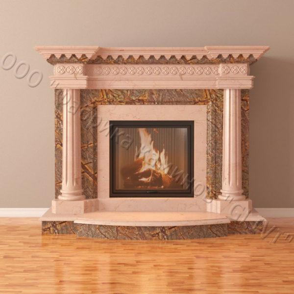 Мраморный каминный портал (облицовка) Беллини, каталог (интернет-магазин) каминов из мрамора, изображение, фото 6