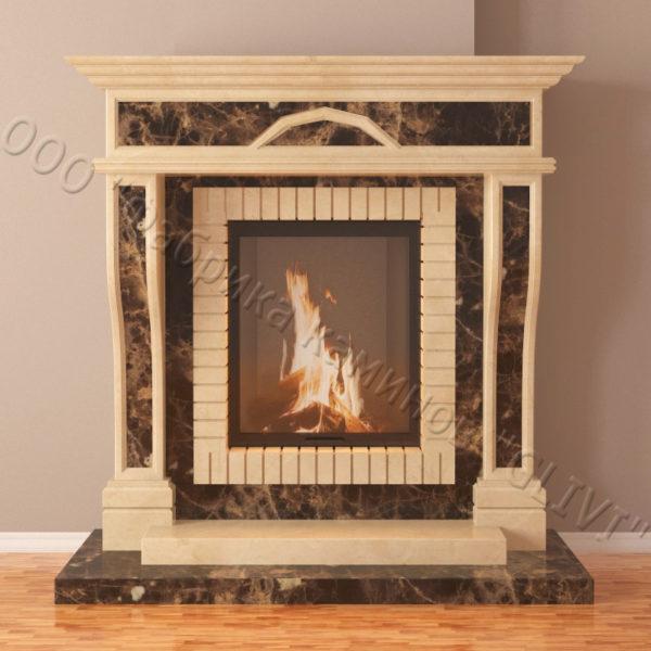 Мраморный каминный портал (облицовка) Британия, каталог (интернет-магазин) каминов из мрамора, изображение, фото 3