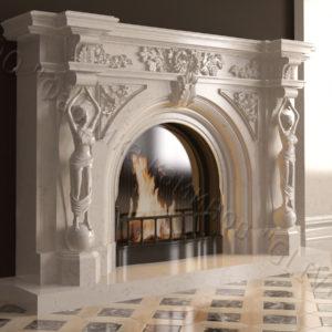 Мраморный каминный портал (облицовка) Дамас, каталог (интернет-магазин) каминов из мрамора, изображение, фото 1