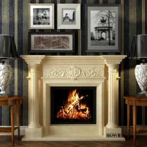 Мраморный каминный портал (облицовка) Эдельвейс, каталог (интернет-магазин) каминов из мрамора, изображение, фото 1