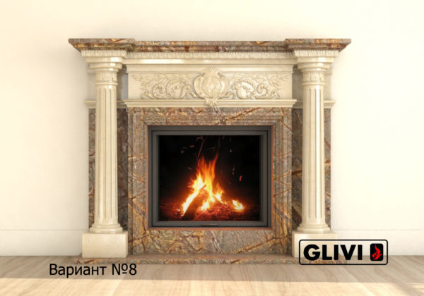 Мраморный каминный портал (облицовка) Эдельвейс, каталог (интернет-магазин) каминов из мрамора, изображение, фото 15