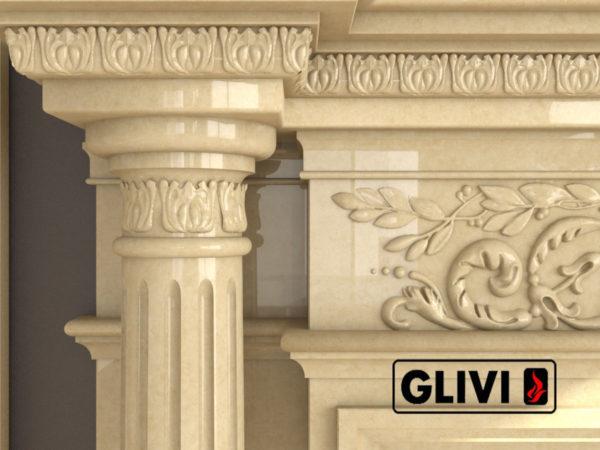 Мраморный каминный портал (облицовка) Эдельвейс, каталог (интернет-магазин) каминов из мрамора, изображение, фото 4