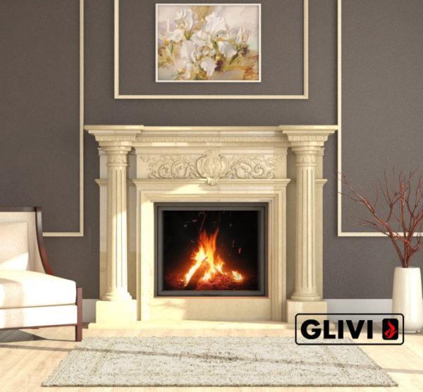 Мраморный каминный портал (облицовка) Эдельвейс, каталог (интернет-магазин) каминов из мрамора, изображение, фото 6