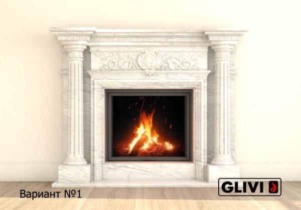 Мраморный каминный портал (облицовка) Эдельвейс, каталог (интернет-магазин) каминов из мрамора, изображение, фото 8