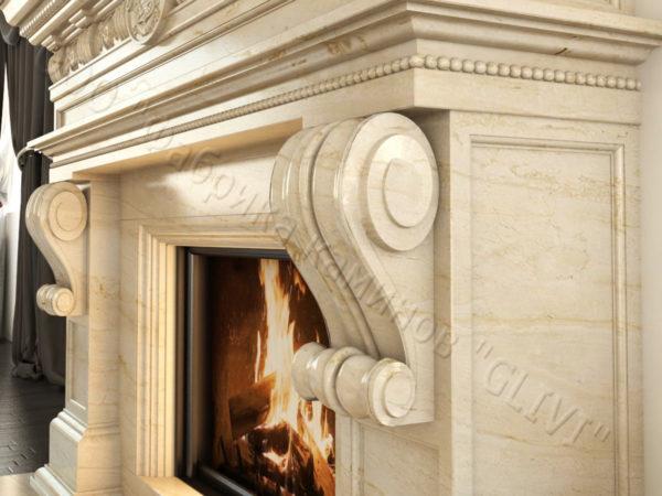 Мраморный каминный портал (облицовка) Эмилия, каталог (интернет-магазин) каминов из мрамора, изображение, фото 4