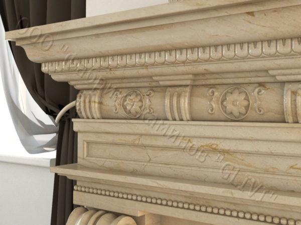 Мраморный каминный портал (облицовка) Эмилия, каталог (интернет-магазин) каминов из мрамора, изображение, фото 6