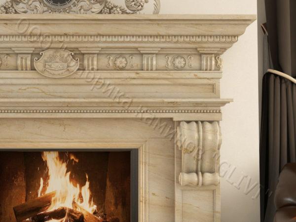 Мраморный каминный портал (облицовка) Эмилия, каталог (интернет-магазин) каминов из мрамора, изображение, фото 7