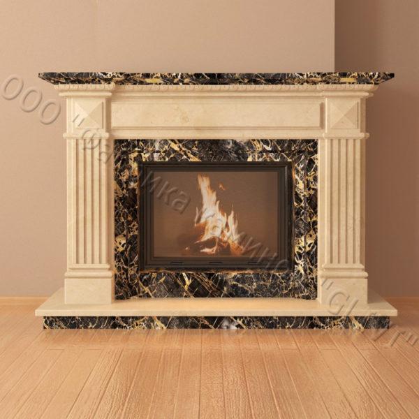 Мраморный каминный портал (облицовка) Фиджи, каталог (интернет-магазин) каминов из мрамора, изображение, фото 2