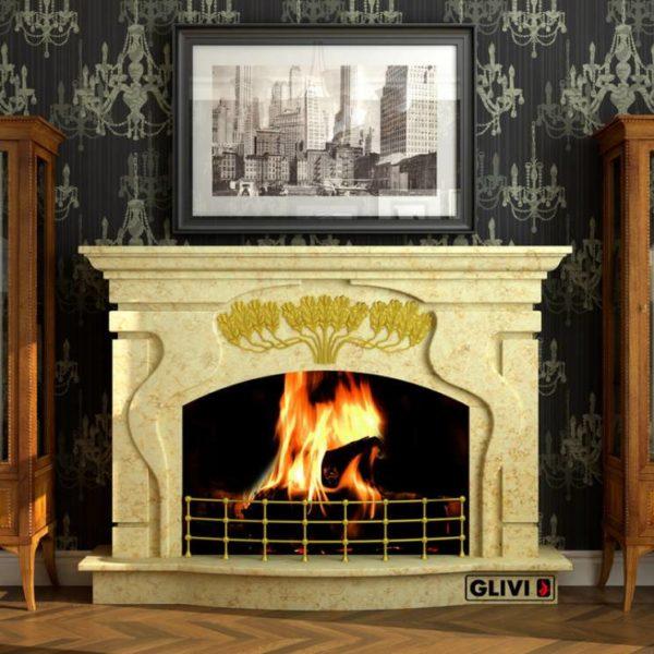 Мраморный каминный портал (облицовка) Генуя, каталог (интернет-магазин) каминов из мрамора, изображение, фото 1