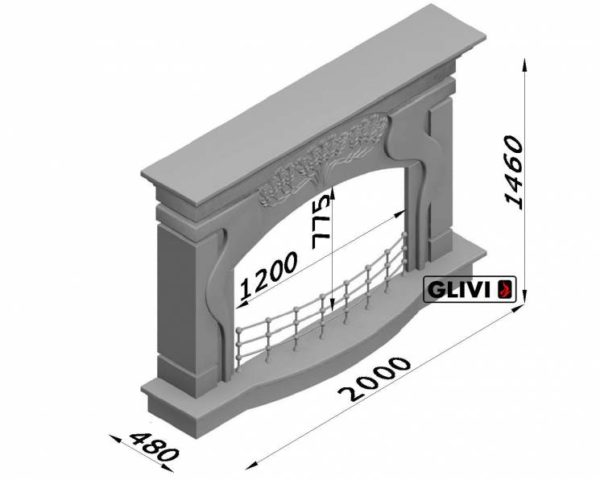 Мраморный каминный портал (облицовка) Генуя, каталог (интернет-магазин) каминов из мрамора, изображение, фото 6