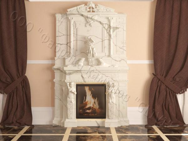 Мраморный каминный портал (облицовка) Гетсия, каталог (интернет-магазин) каминов из мрамора, изображение, фото 1