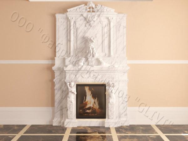 Мраморный каминный портал (облицовка) Гетсия, каталог (интернет-магазин) каминов из мрамора, изображение, фото 10