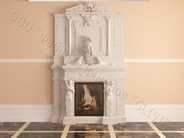 Мраморный каминный портал (облицовка) Гетсия, каталог (интернет-магазин) каминов из мрамора, изображение, фото 11